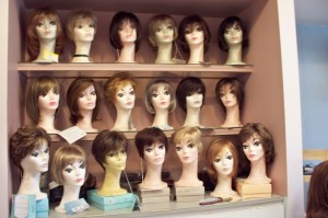Assorted display of Hair Pieces and Wigs